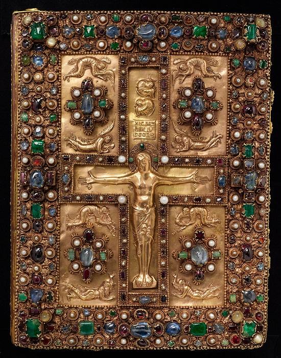 Оклад переплета Евангелия из Линдау. Ок. 870 г. Золото и драгоценные камни. 34,9 х 26,7 см. Библиотека Пирпонта Моргана, Нью-Йорк