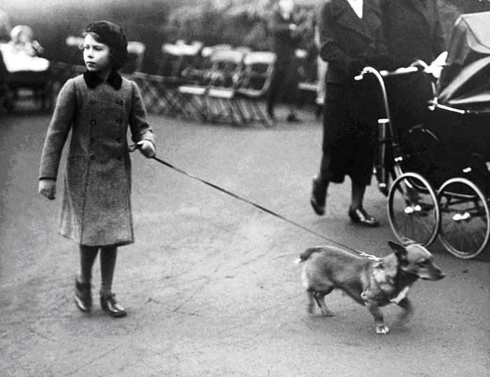 Будущая королева на прогулке со своим питомцем в лондонском Гайд-парке, 1940 год