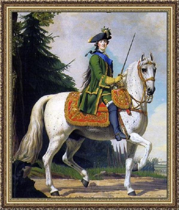 Виргилиус Эриксен.<br>Императрица Екатерина II верхом на коне Бриллианте. 1762. Большой Петергофский дворец