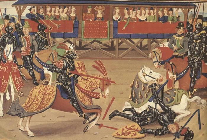 Рыцарский турнир, средневековая миниатюра