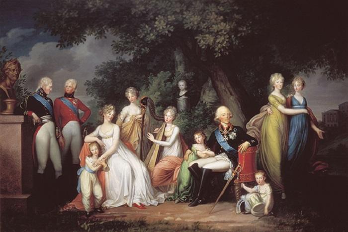 Павел I и Мария Федоровна в окружении детей