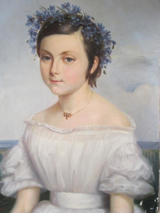 Bathilde Goblain. Portrait de jeune fille a la couronne de bleuets.