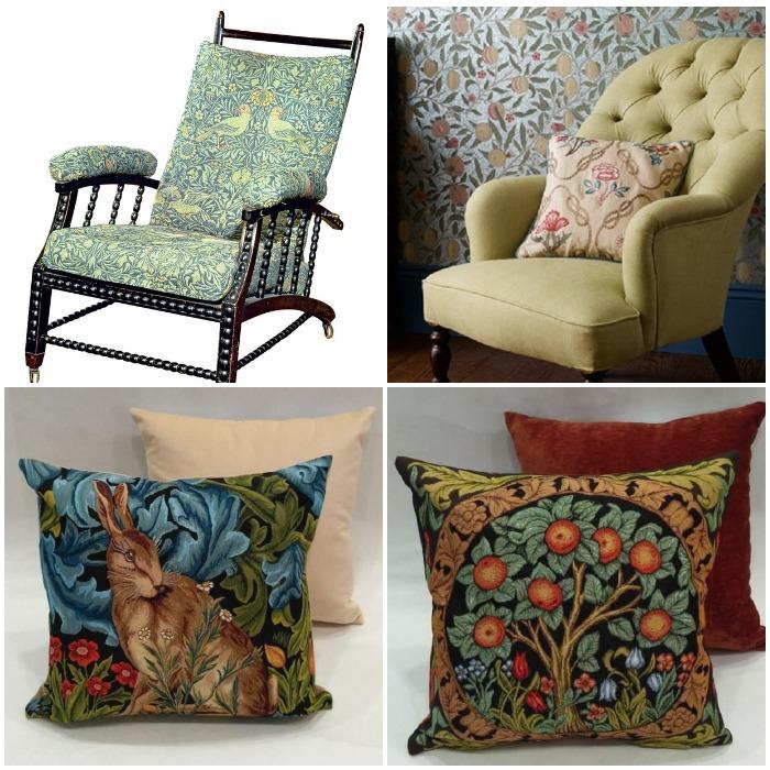 Кресла и подушки с рисунками Морриса