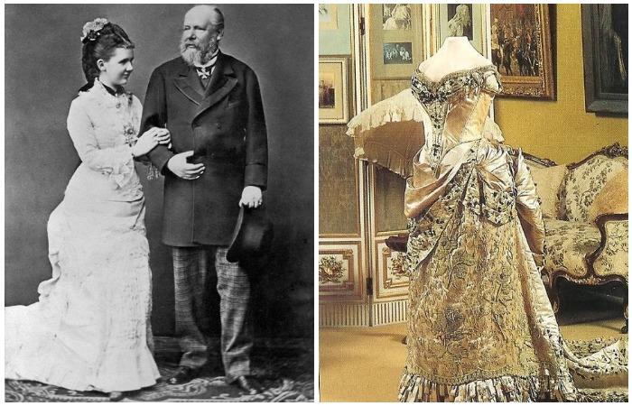 Эмма Вальдек-Пирмонтская, королева Нидерландов с супругом Виллемом III. Свадебное платье 1879 года