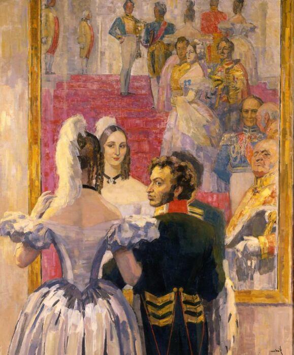 Пушкин и Гончарова на придворном балу. /Фото: ic.pics.livejournal.com