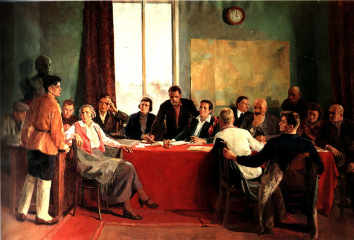 Г. Лукомский, Заседание заводского парткома. 1937 год. /Фото: vvv.ru