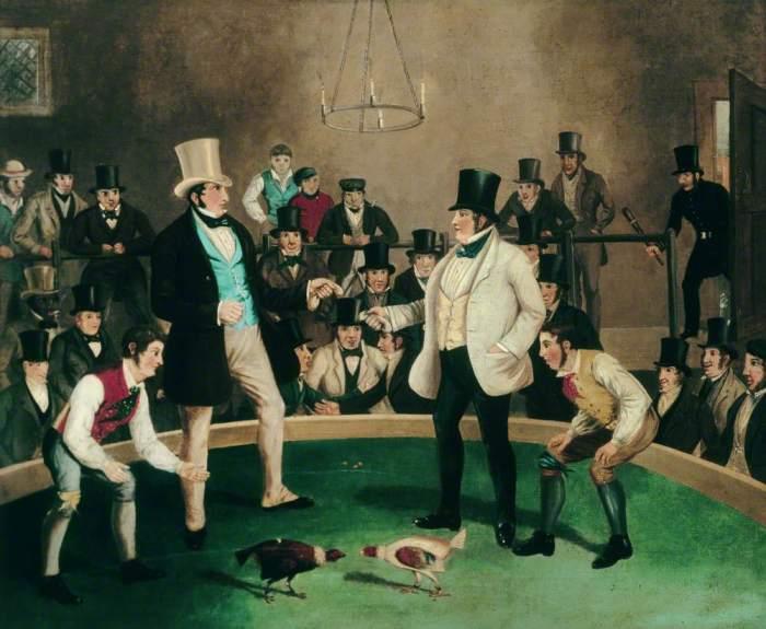 Неизвестный художник. Петушиный бой, 1850год./Фото: d3d00swyhr67nd.cloudfront.net