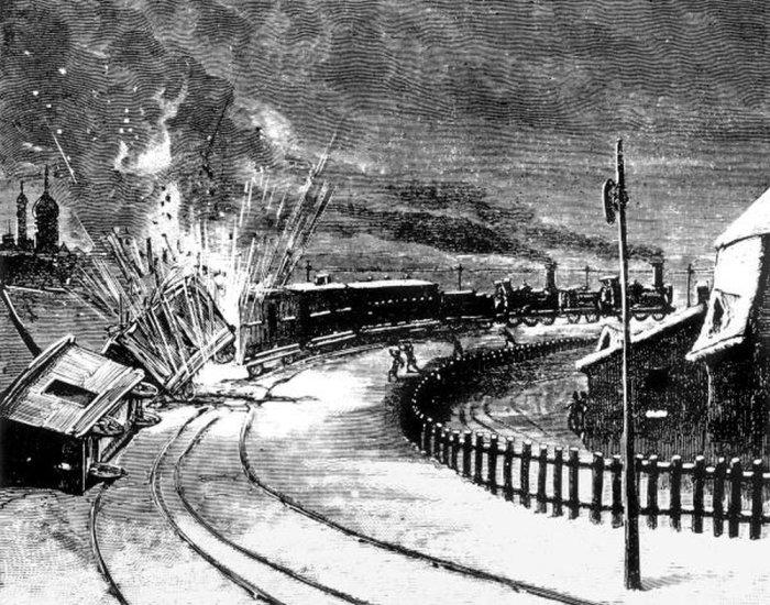 Г. Мейер. Взрыв поезда, везущего багаж императорской свиты. 1879 год./Фото: img.rg.ru