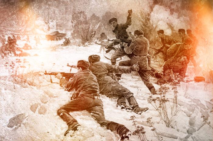 Группа советских пограничников ведет бой на острове Даманский. /Фото: warspot-asset.s3.amazonaws.com