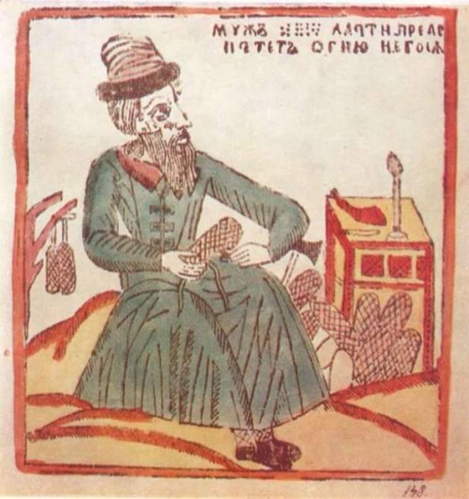 Мужик плетёт лапти. Лубок XVIII века./Фото: oursociety.ru/
