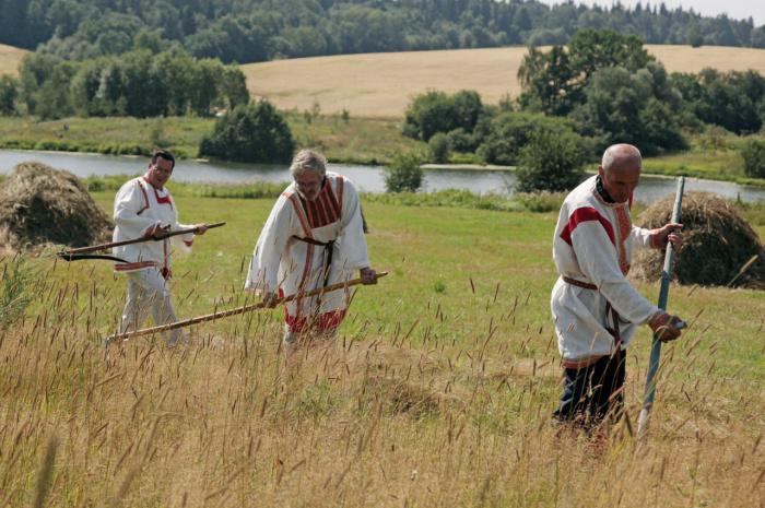 Во время праздника мужчины устраивали соревнования по косьбе. /Фото: souzveche.ru