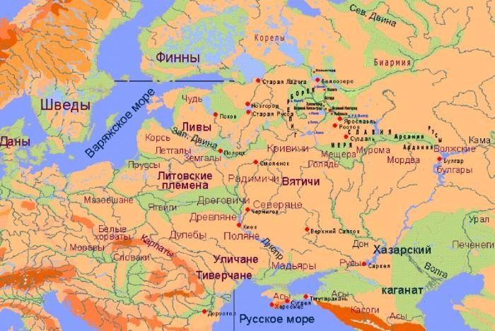 Карта славянских племен на территории  современной России./Фото: perstni.com