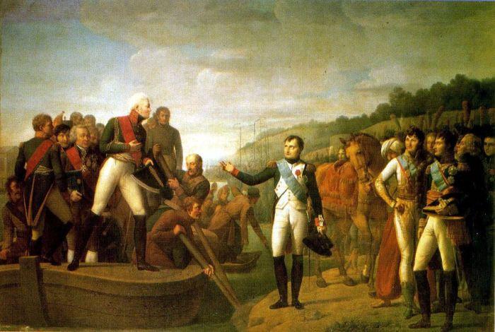 Прощание Александра I и Наполеона после заключения мира в Тильзите. /Фото: i.pinimg.com