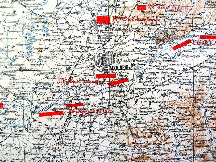 Мукден (ныне Шэньян). Положение сторон в середине сентября 1904 года, непосредственно перед переходом Маньчжурской армии Российской империи в наступление (фрагмент)./Фото: upload.wikimedia.org