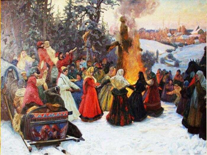 Чучело Масленицы сжигали на большом ритуальном костре, что символизировало прощание с зимой. /Фото: images.myshared.ru