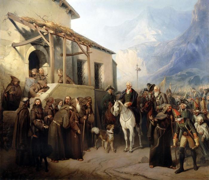 Фельдмаршал Суворов на вершине Сен-Готарда 13 сентября 1799 года. /Фото: runivers.ru
