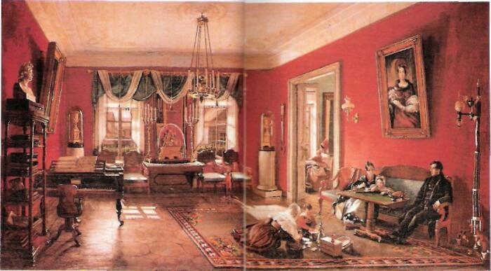 Нащокин с семьей в гостиной. /Фото: pandia.ru