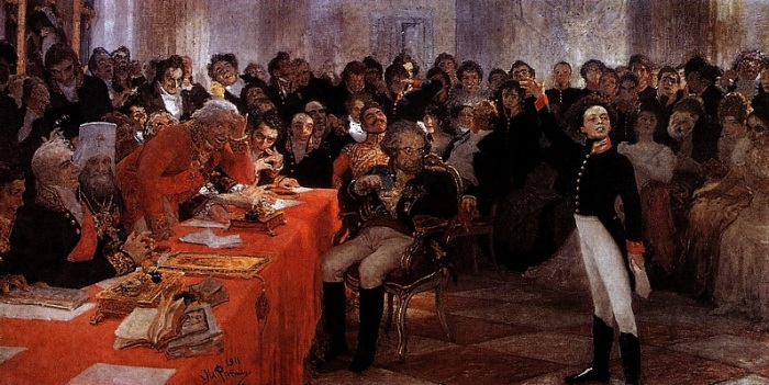 Пушкин на лицейском экзамене в Царском Селе. Картина И. Репина (1911)./Фото: art-catalog.ru