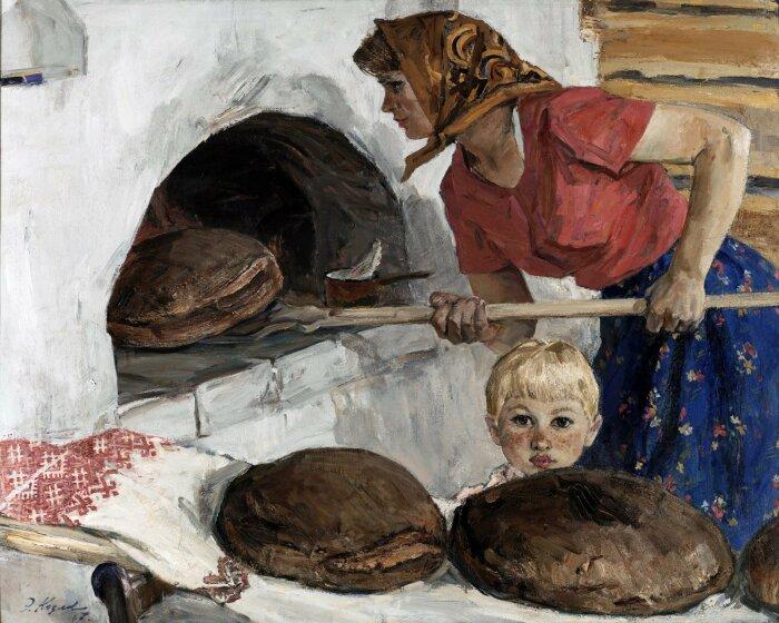 На Руси выпеканием хлеба и готовкой в печи занимались женщины. /Фото: i.pinimg.com