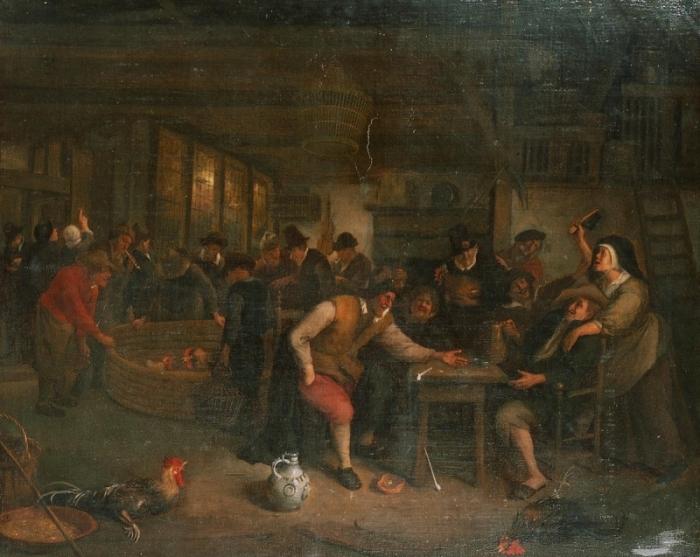 Петушиный бой в таверне. 1673 год./Фото: mtdata.ru