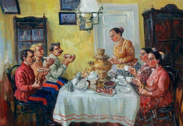 На Руси было принято выпивать по 6-10 чашек чаю. /Фото: cs6.livemaster.ru