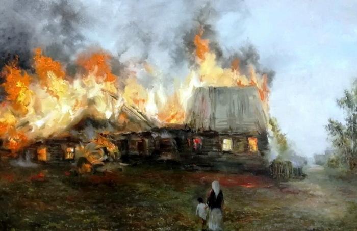 Во время пожара деньги, спрятанные в избе, могли сгореть. /Фото: elohov.ru