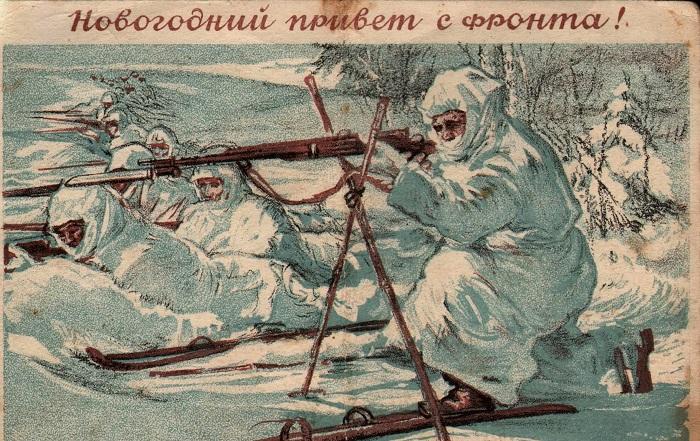 Новогодние открытки соответствовали военной тематике. /Фото: contragents.ru