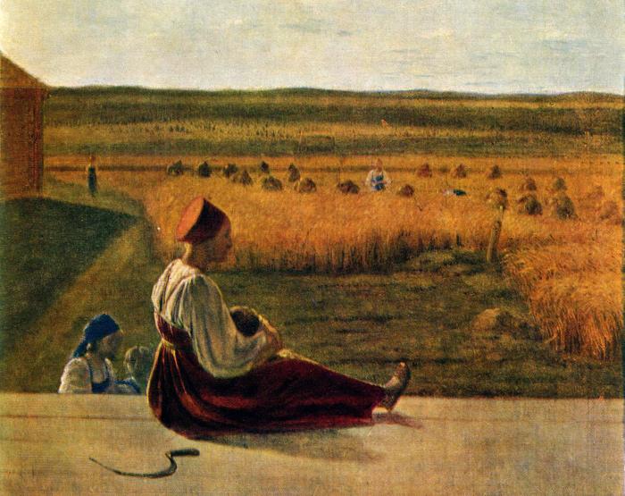 В старой Руси в поле работали и беременные женщины. /Фото: materinstvo.ru
