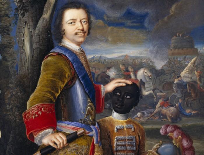 Пётр I с чернокожим пажом. Немецкая акварель, около 1707 года./Фото: factinate.com