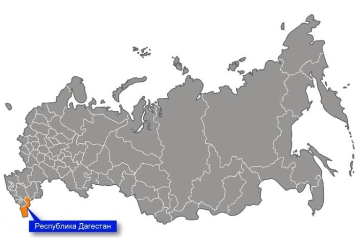 Дагестан на карте России. /Фото: bankgorodov.ru