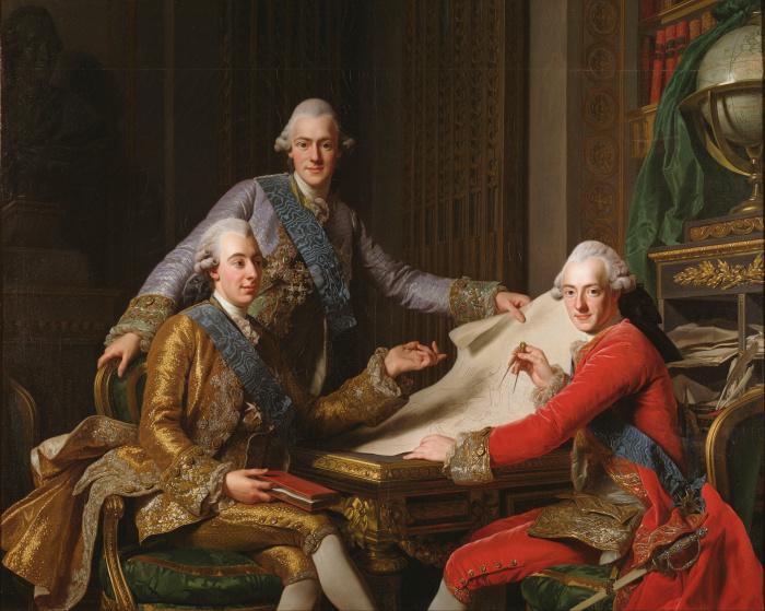 Густав III с братьями. /Фото: upload.wikimedia.org