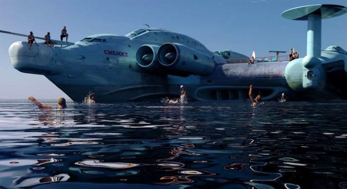Экраноплан не только перемещался над водной гладью, но и был способен взлетать на тысячи метров./Фото: balancer.ru