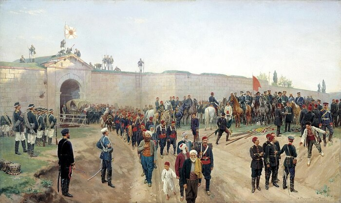 Сдача турецкой крепости в 1878-м. /Фото: polzam.ru
