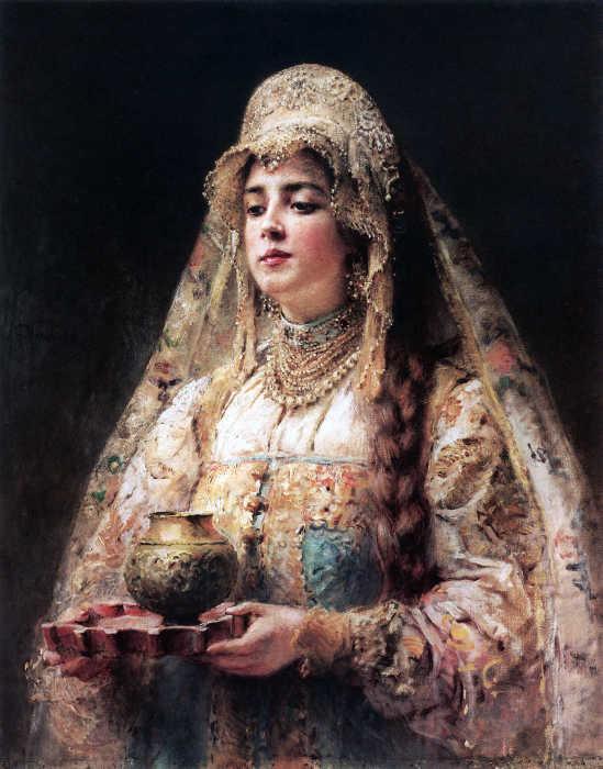 Константин Маковский, Чарка меду. 1890-е./Фото: stihi.ru