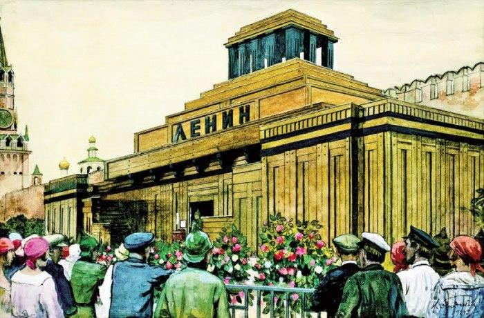 Деревянный мавзолей на рисунке Исаака Бродского 1924 года./Фото: isrageo.com