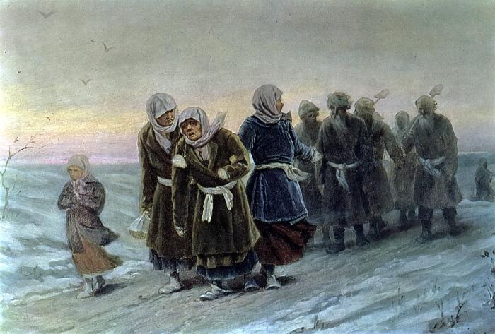 Василий Григорьевич Перов. «Возвращение крестьян с похорон зимою».