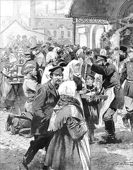 Продажа амулетов, предохраняющих от холеры. Рисунок из журнала «Огонёк». 1908 г./Фото: ic.pics.livejournal.com