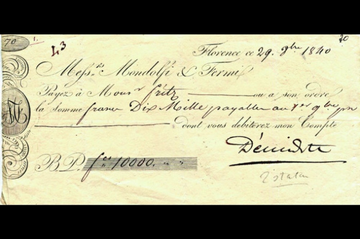 Счёт Ж. Бонапарта на 10000 франков, оплаченный Анатолием Демидовым./Фото: mam4.ru