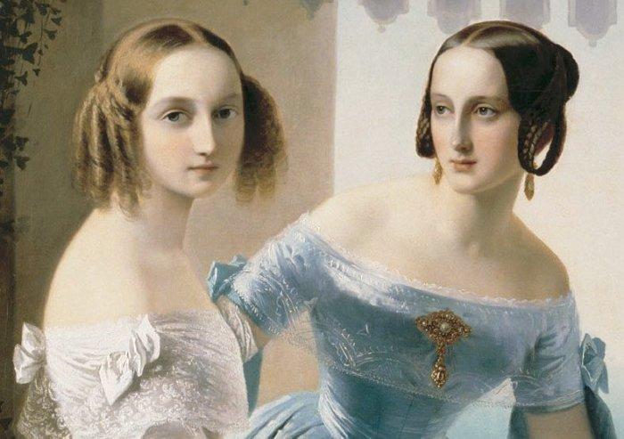 Портрет великих княжон Марии Николаевны и Ольги Николаевны. К. Нефф. 1838 г./Фото: pbs.twimg.com