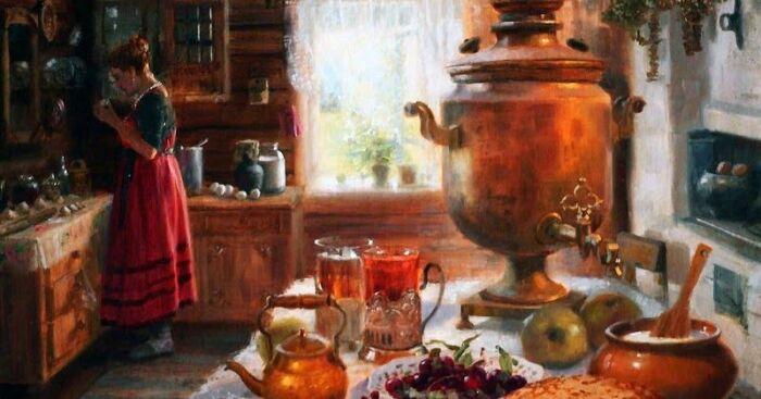 Сегодня многие считают чай русским национальным напитком и ничего не знают о чаерезах. /Фото: i.pinimg.com