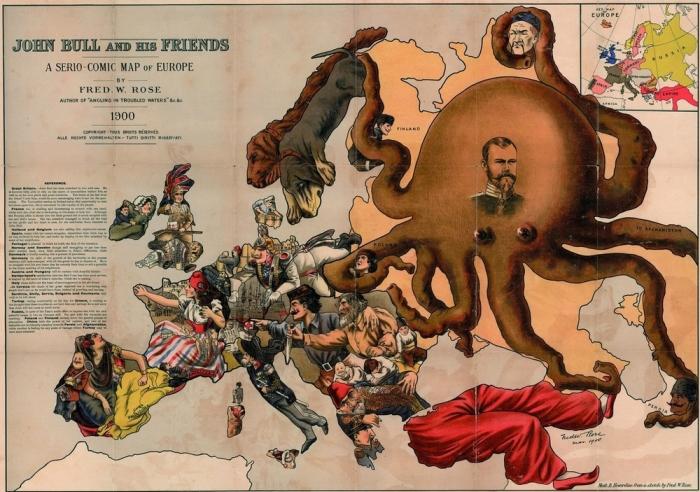 Пропаганда в западных СМИ. Карта мира от 1900 года./Фото: s00.yaplakal.com