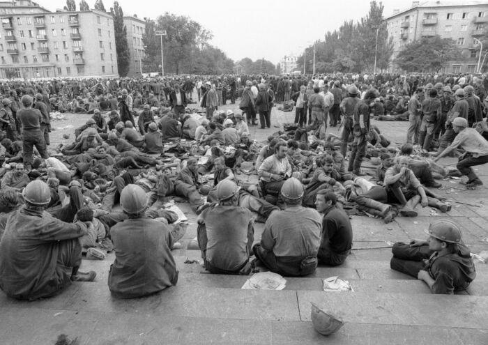 Шахтерская забастовка в 1989-м. /Фото: sovsekretno.ru