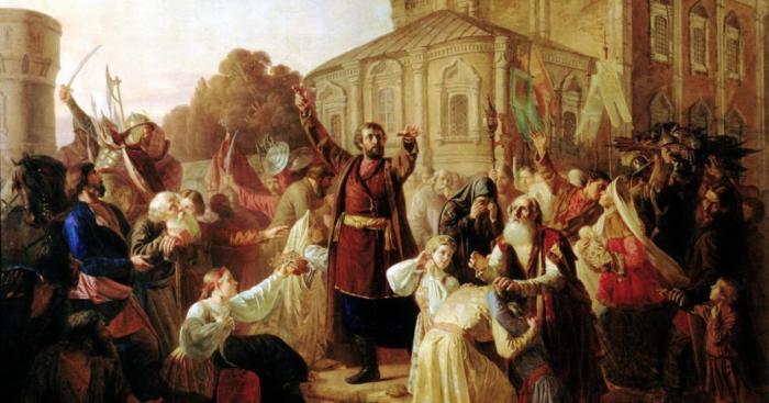 Картина Пескова М. И. «Воззвание к нижегородцам гражданина Минина в 1611 году», (1861)./Фото: mtdata.ru