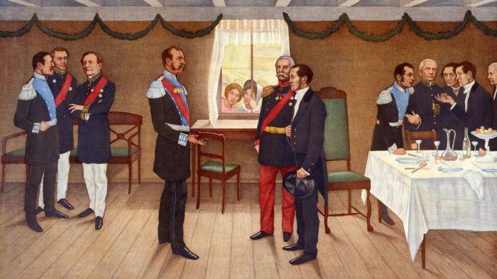 Вернер фон Хаусен запечатлел на своём рисунке историческую встречу императора и сенатора Снелльмана./Фото: img.yle.fi