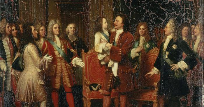 10 мая 1717 года. Пётр Первый держит на руках будущего короля Франции Людовика XV Возлюбленного. Картина Луизы Херсент, находящаяся в Версальском дворце./Фото: ic.pics.livejournal.com