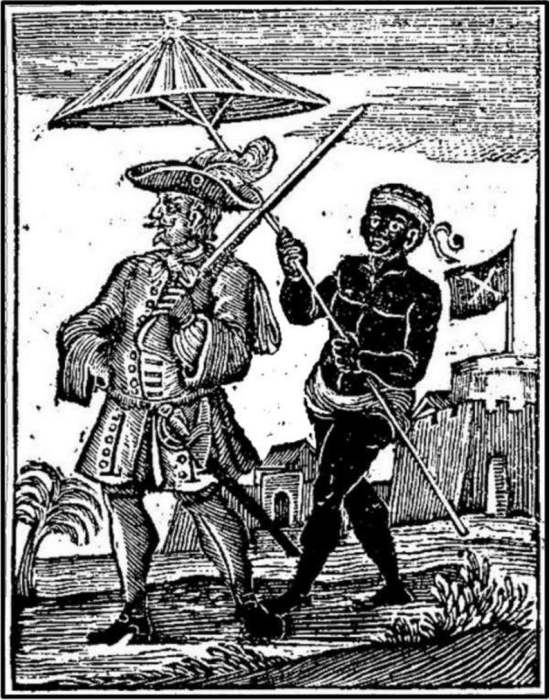 Пират Генри Эвери, сопровождаемый рабом. /Фото: i.etsystatic.com