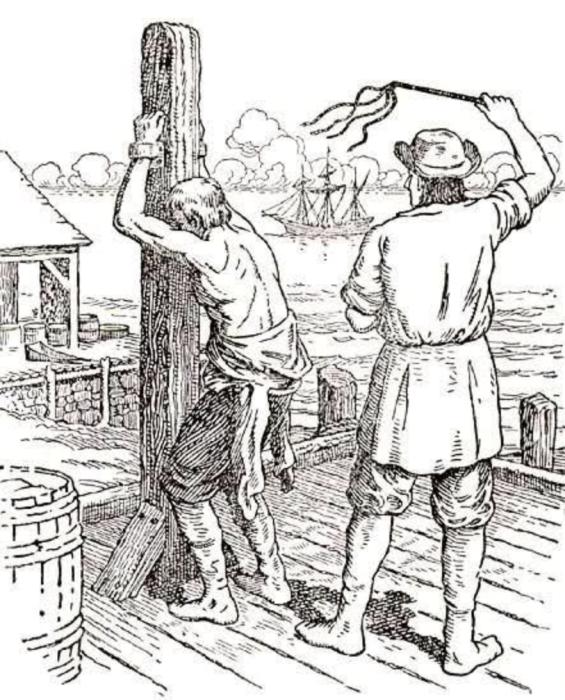 Наказание «кошкой». «Кошки» — это четырёхвостные плети с узелками на концах, которые были введены в 1720 году./Фото: whaleoil.net.nz