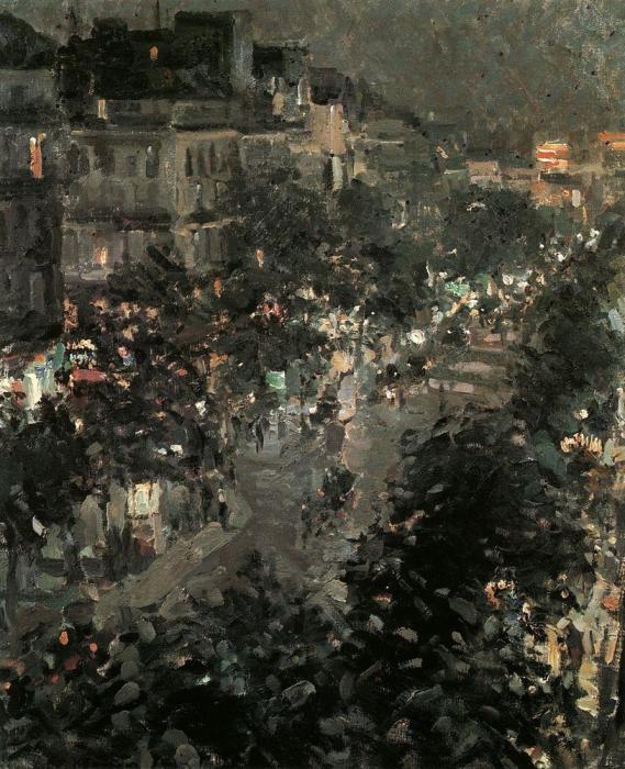 Картина «Париж ночью. Итальянский бульвар», художник Константин Коровин