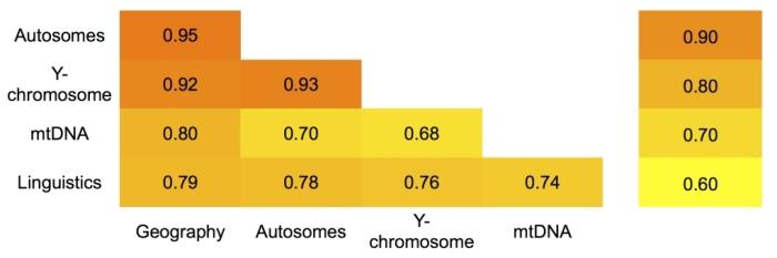 Корреляции между матрицами генетических, лингвистических и географических расстояний для балто-славянских популяций. Столбец справа – цветовые обозначения интервалов коэффициентов корреляции/Источник genofond.ru