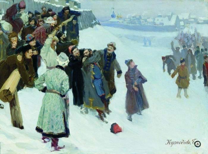 Борис Кустодиев, Кулачный бой на Москва-реке, 1897 г. /Фото: allpainters.ru